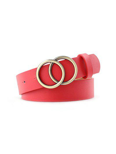Double Rings Buckle Belt - Red