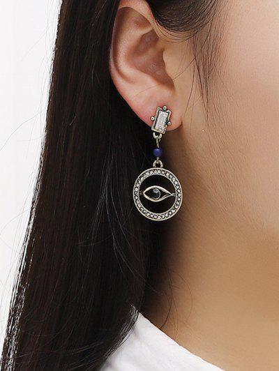 Hollow Out Eye Shape Rhinestone Earrings - Golden