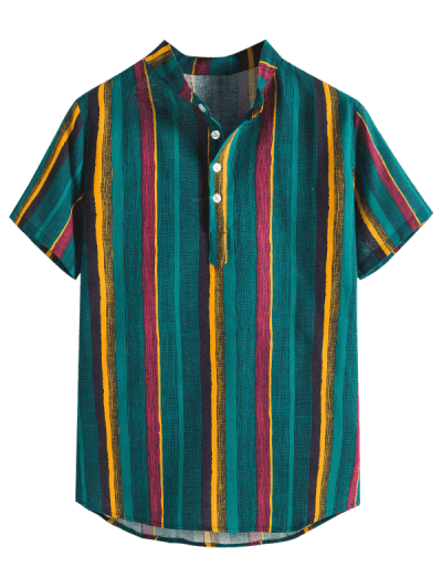 Colorful Striped Henley Stand Collar Casual Shirt