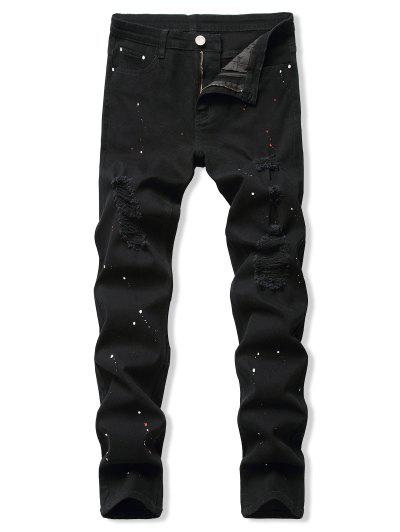Paint Splatter Destroyed Pencil Jeans - Black 32