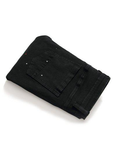 Paint Splatter Destroyed Pencil Jeans, Black