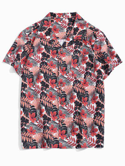 Tropical Leaf Print Pocket Patch Vacation Shirt - Multi L
