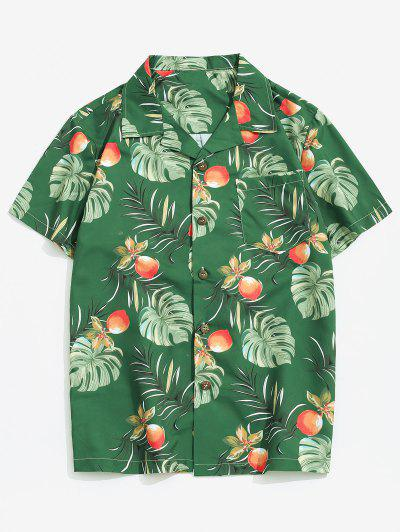 Wildflower Leaf Print Pocket Beach Button Up Shirt - Multi-a M