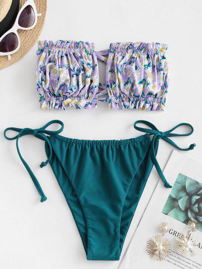 ZAFUL Flower Print Ruffle Tie Side Bandeau Bikini Swimwear - Light Purple S