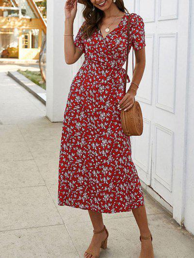 Tiny Floral Print A Line Wrap Dress - Red Wine Xl