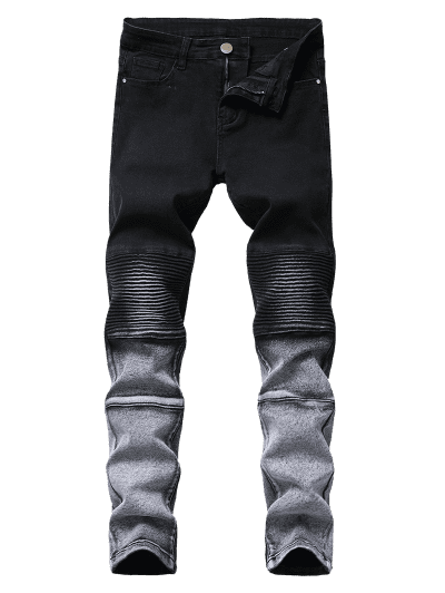 Ombre Tapered Biker Jeans