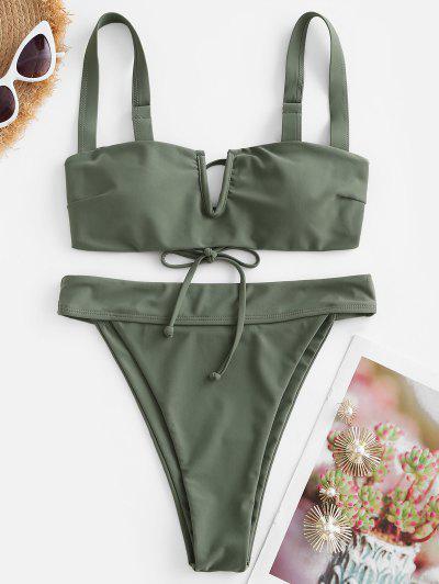 ZAFUL V Wired Plain High Cut Bikini Swimwear - Light Green S
