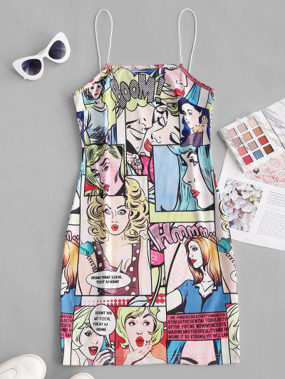 Bungee Straps Pop Art Figure Print Bodycon Dress - Yellow M