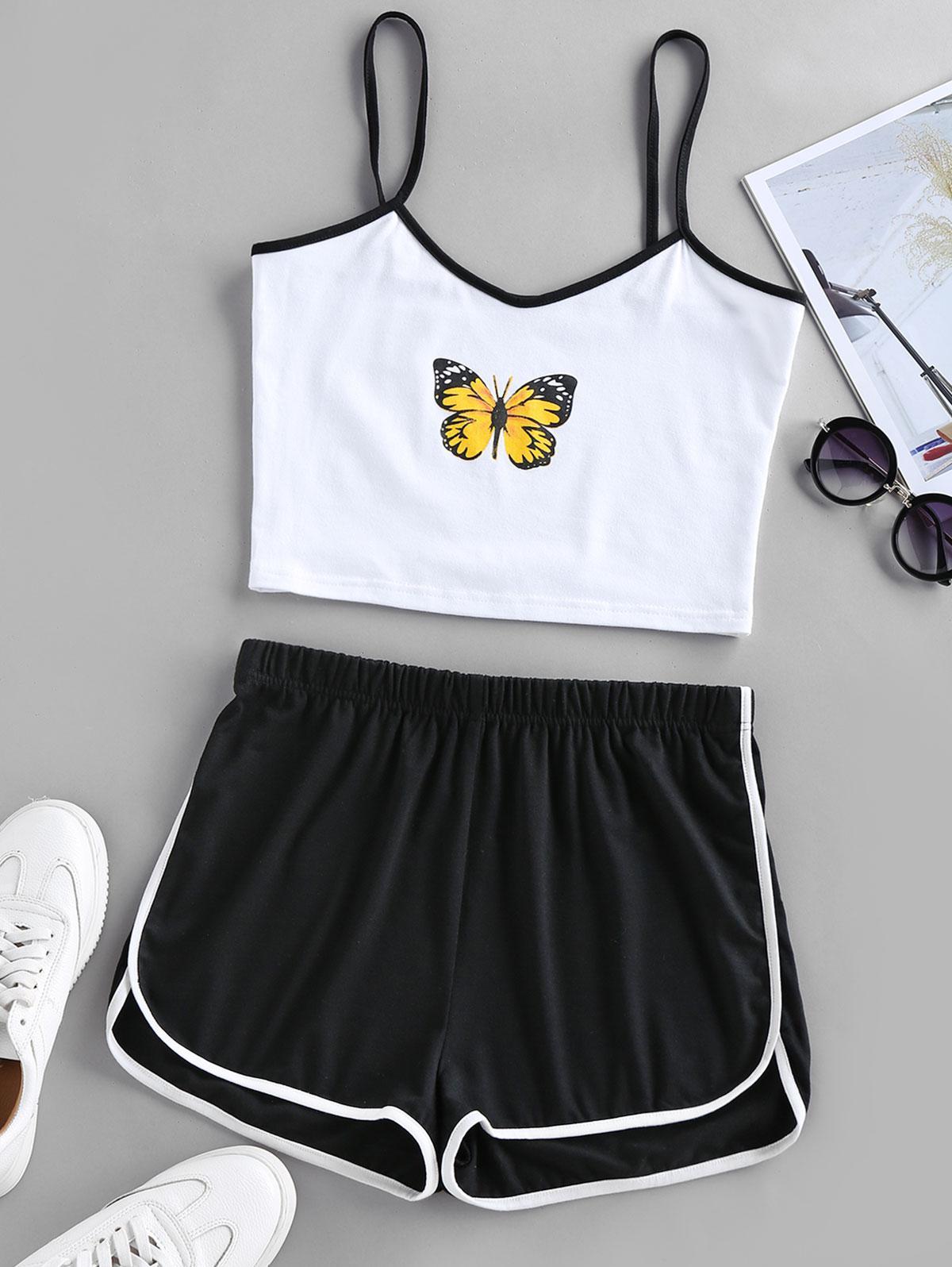 ZAFUL Butterfly Print Ringer Shorts Set