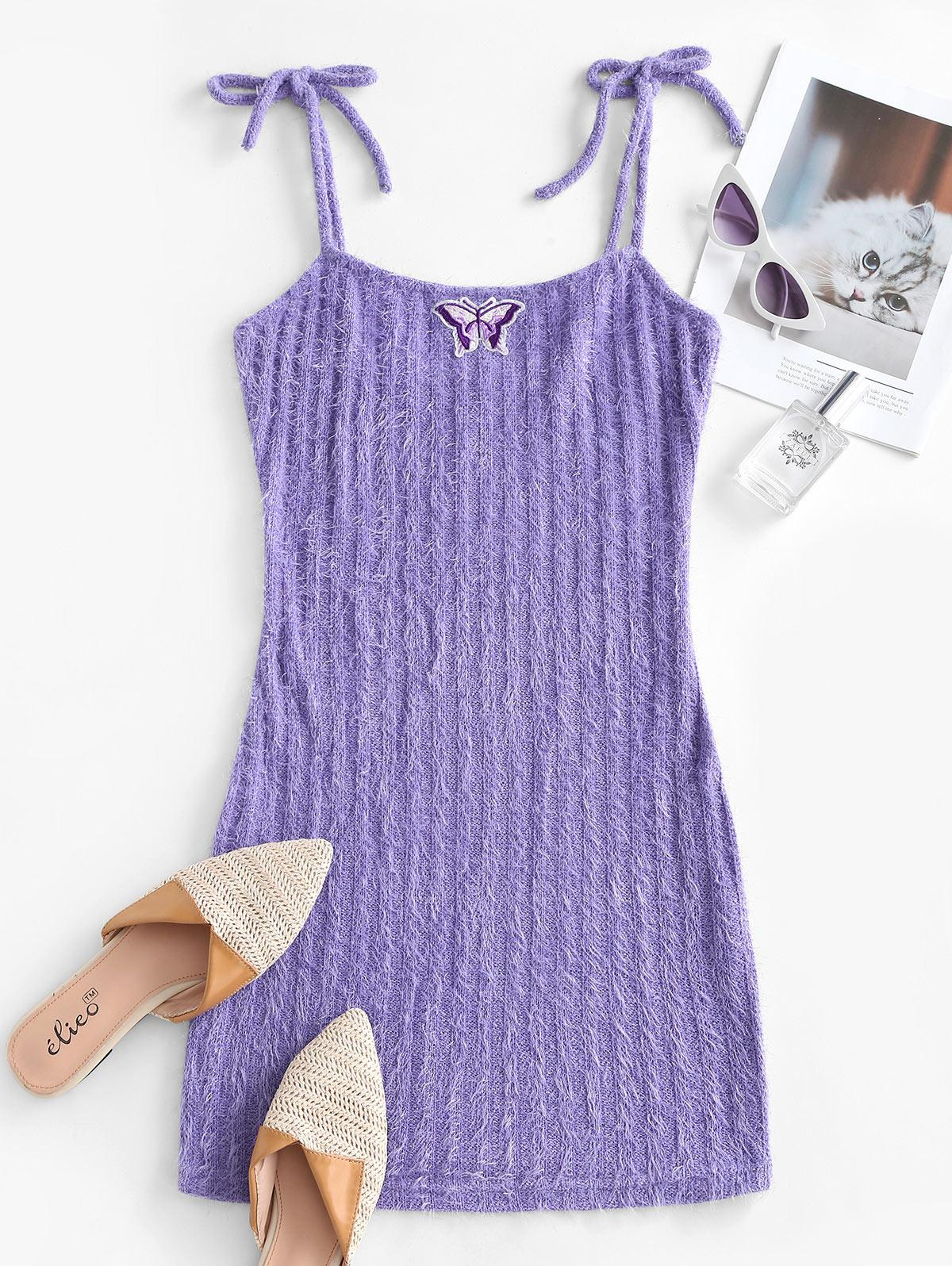 Knitted Butterfly Embroidered Tie Shoulder Dress