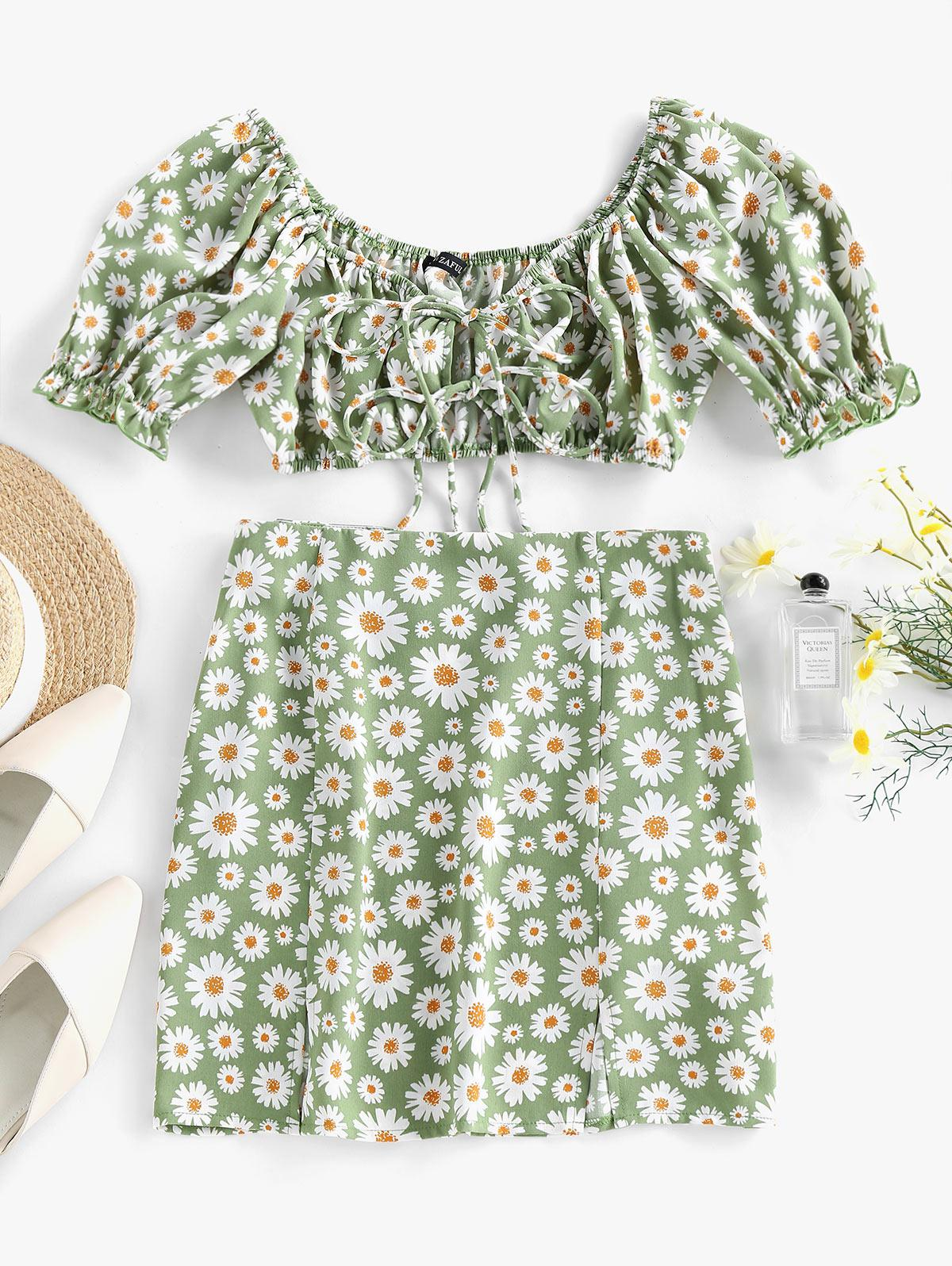 ZAFUL Daisy Print Slit Tie Front Ruffle Skirt Set