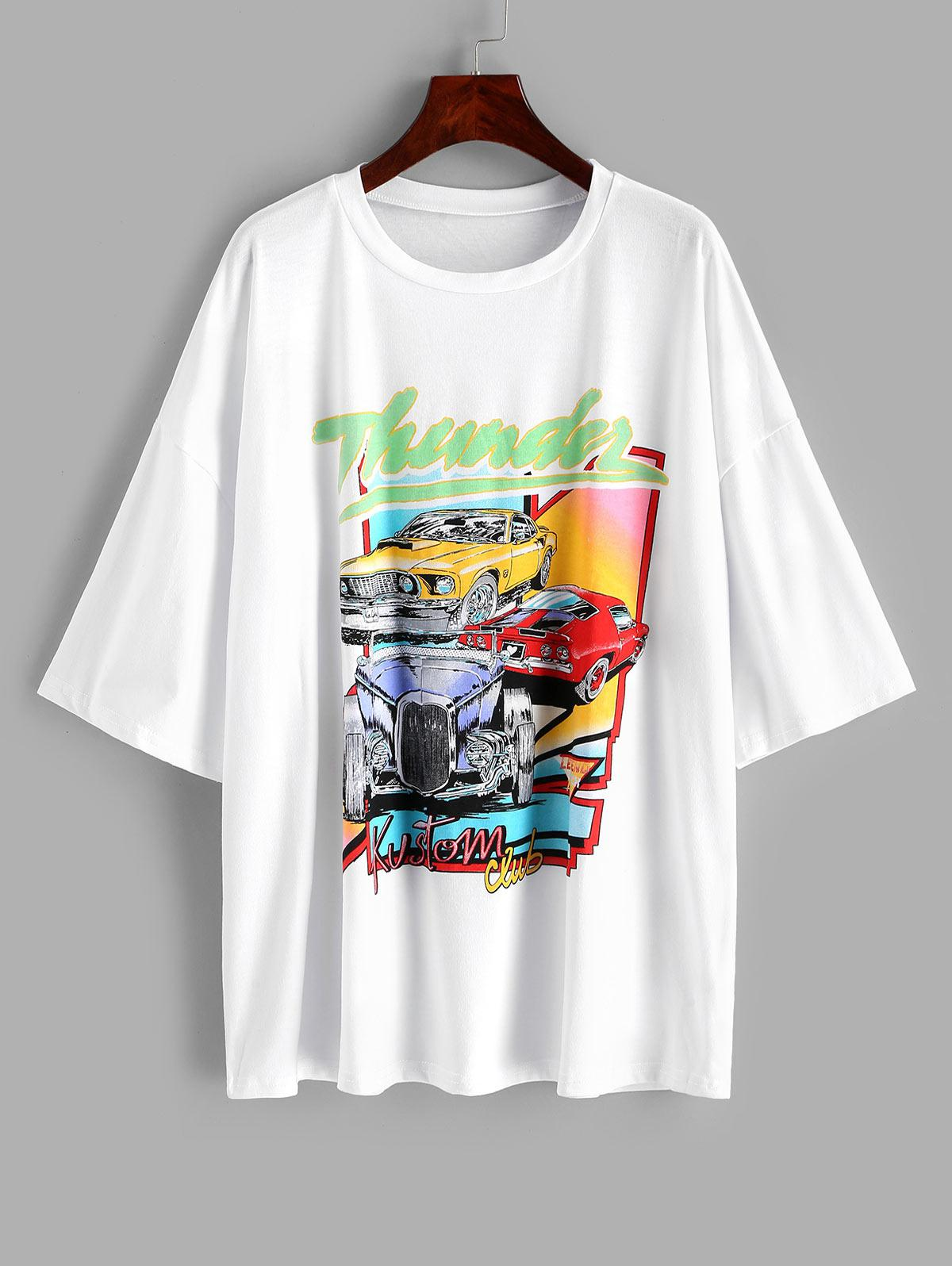 Drop Shoulder Thunder Graphic Car Print T-shirt