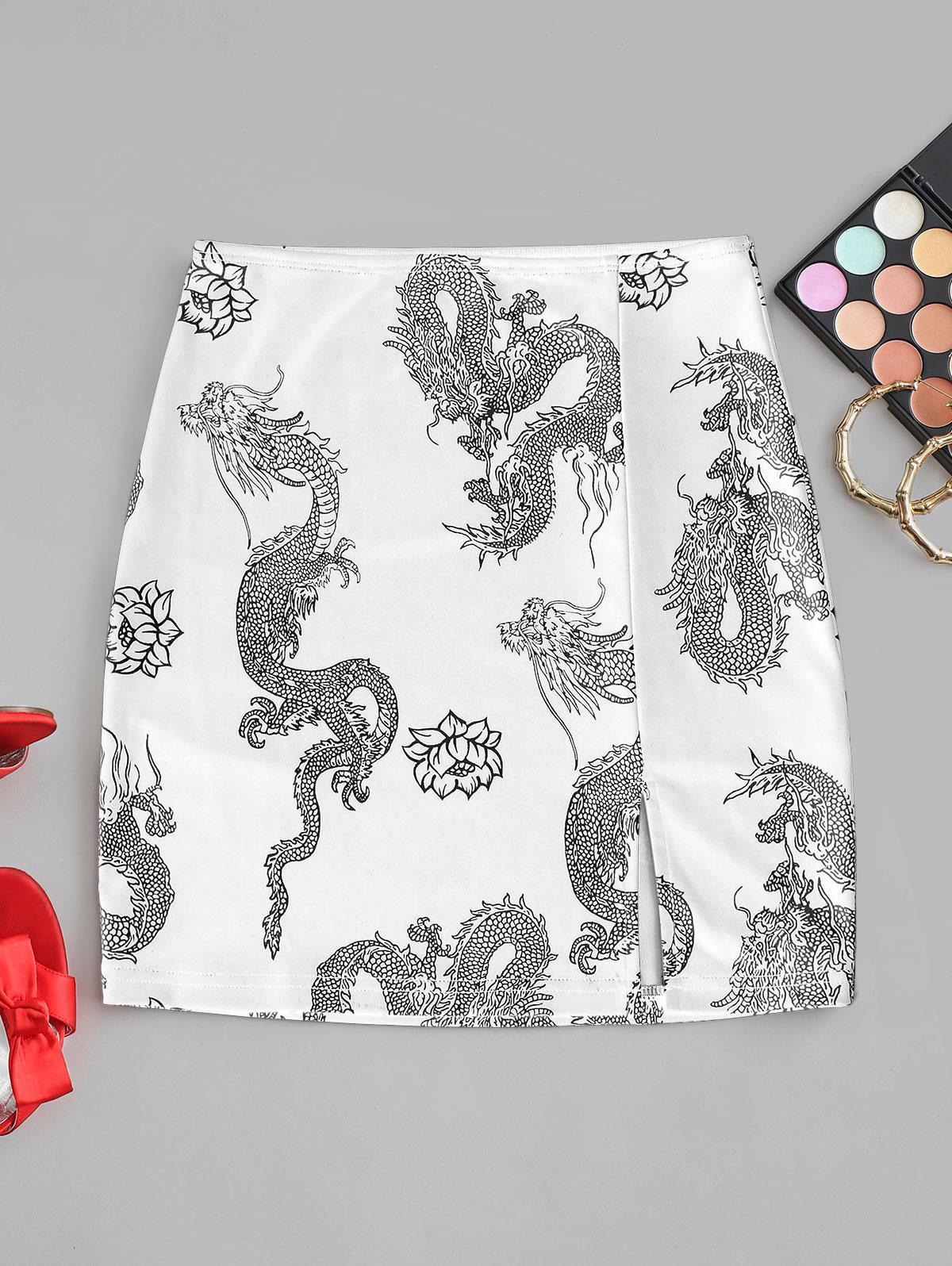Oriental Dragon Print Slit Short Skirt