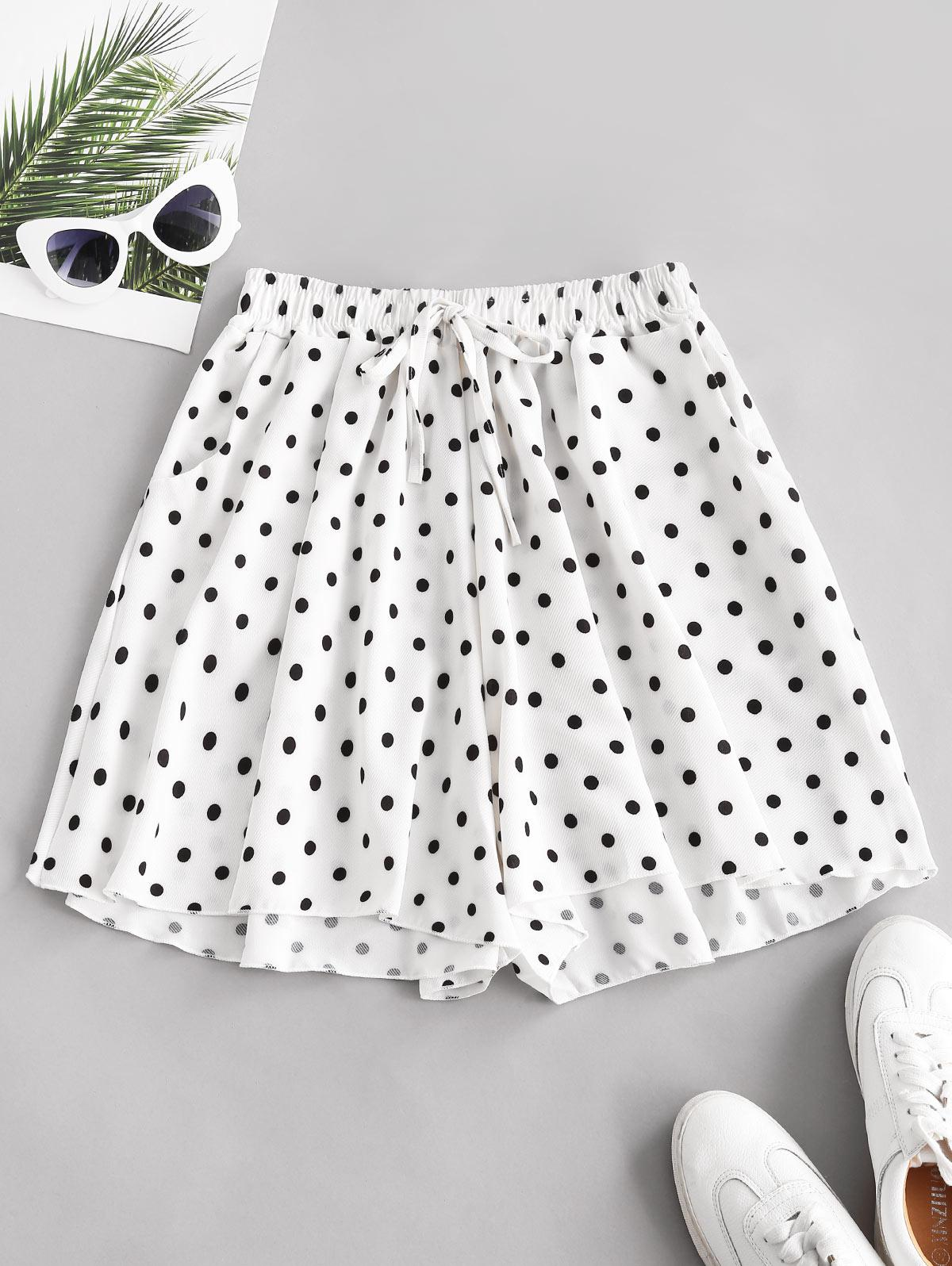 Polka Dot Wide Leg Tie Pocket Shorts