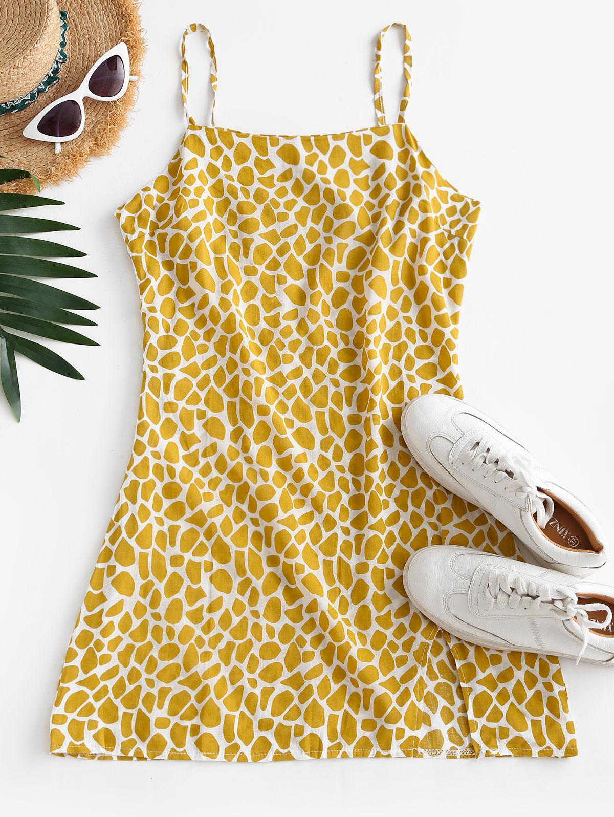 Printed Slit Sheath Cami Dress