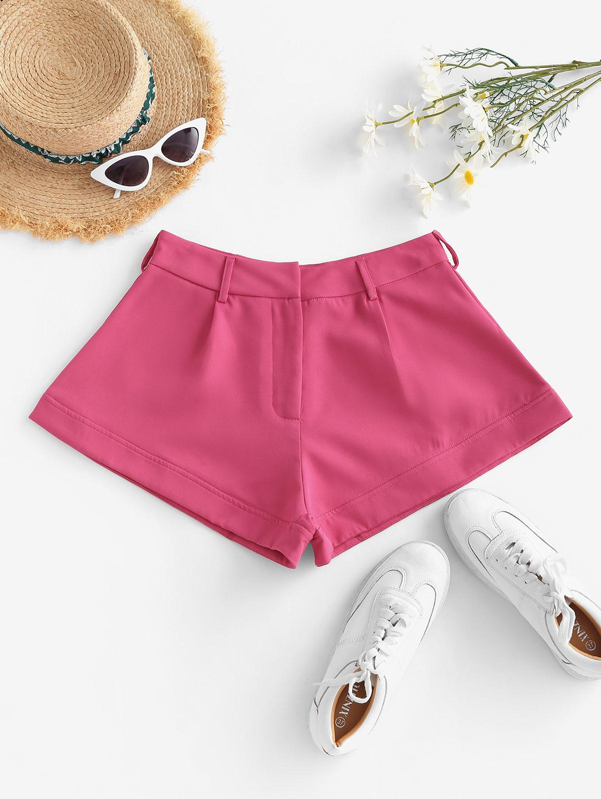 Solid Office Wide Leg Shorts