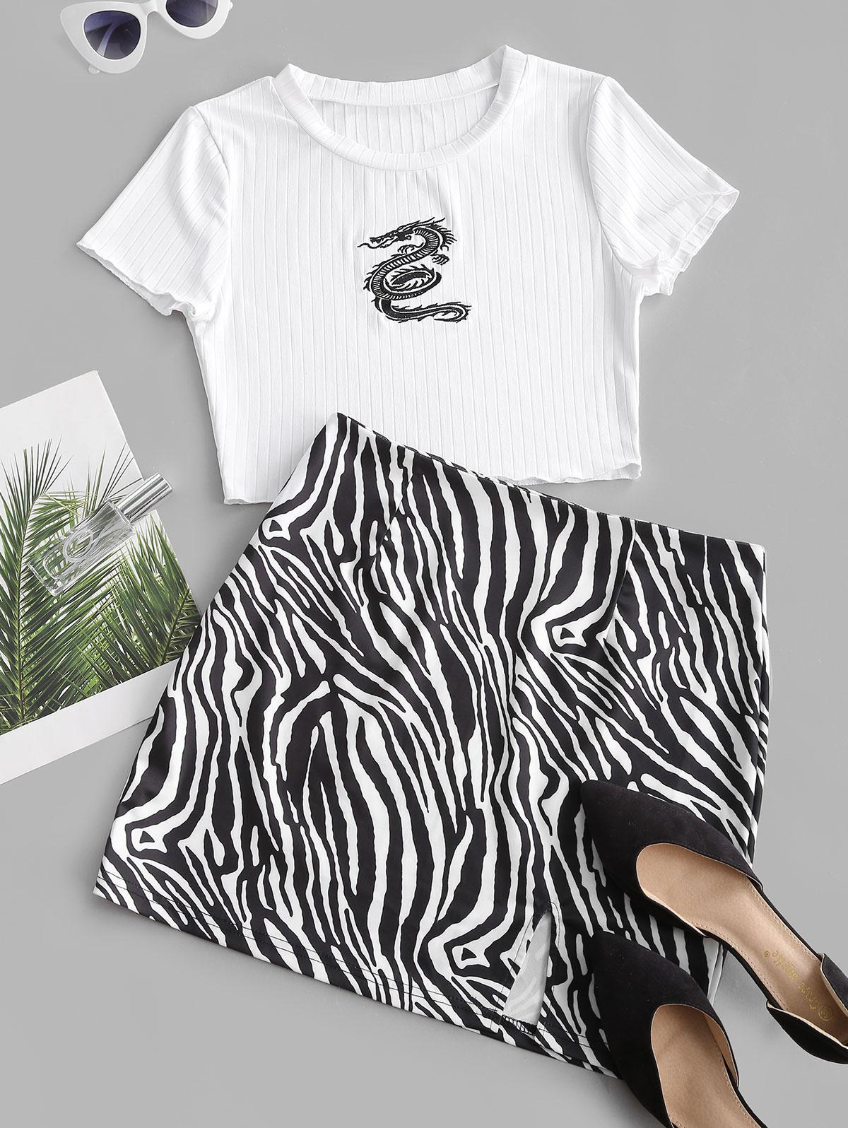 ZAFUL Dragon Embroidered Zebra Print Slit Skirt Set
