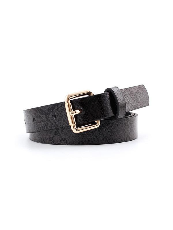 Snake Print Buckle Belt