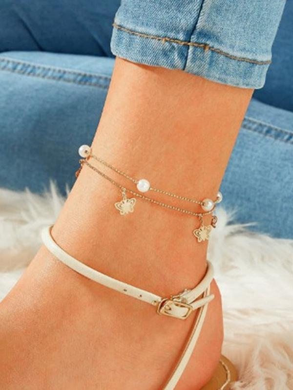 Artificial Pearl Butterfly Layered Chain Anklet