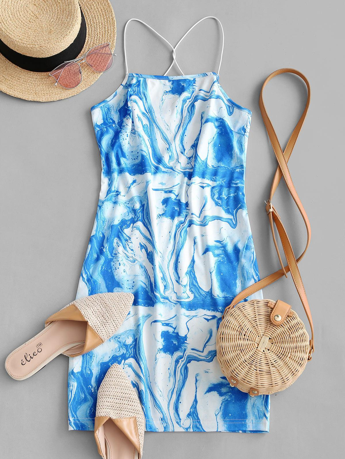ZAFUL Agate Print Criss Cross Bodycon Cami Dress