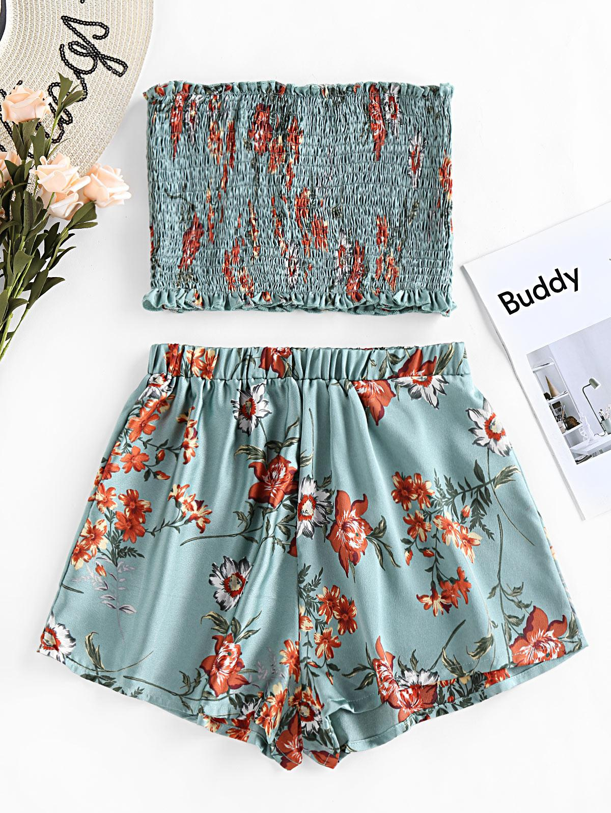 ZAFUL Smocked Strapless Floral Print Two Piece Set