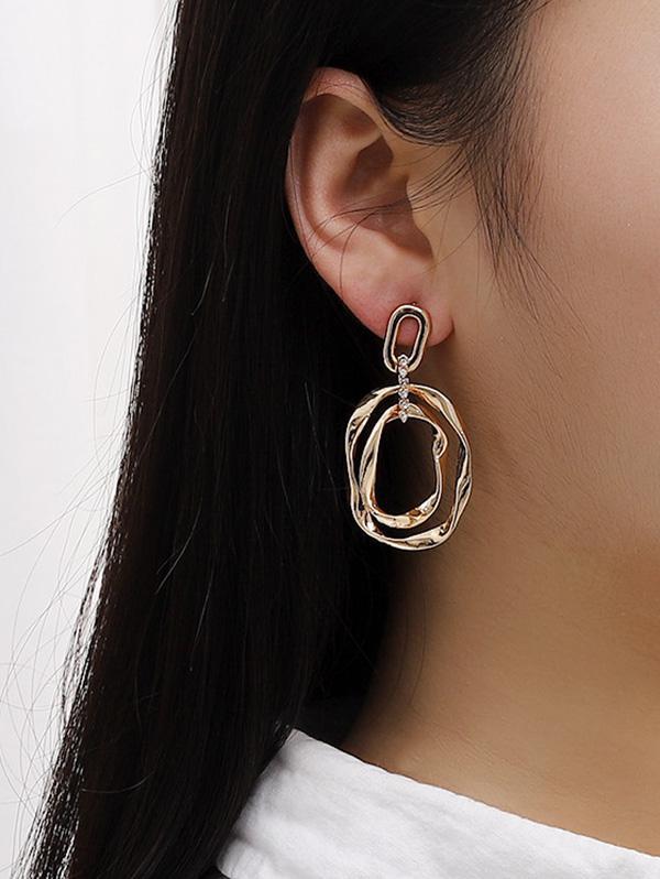 Irregular Oval Hollow Alloy Earrings