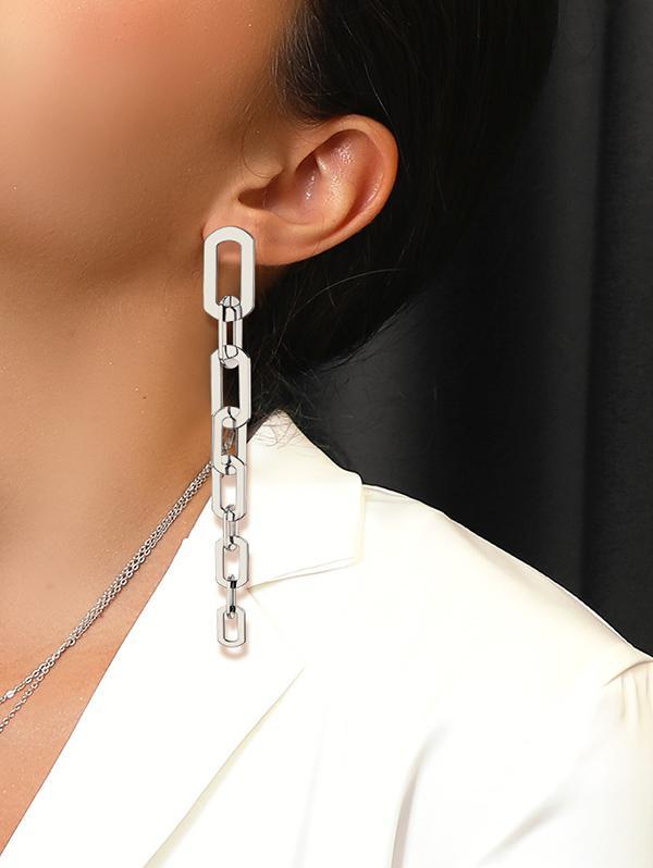 Chain Silver Needle 316L Stainless Steel Earrings