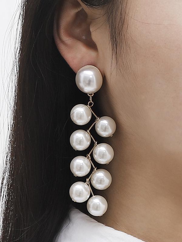 Faux Pearl Zigzag Dangle Earrings