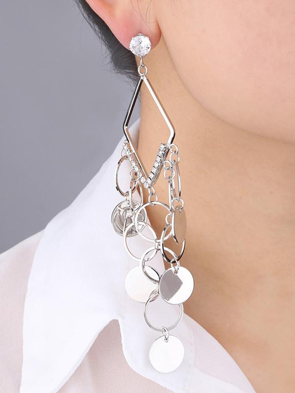 Hollow Geometric Rhinestone Fringe Earrings