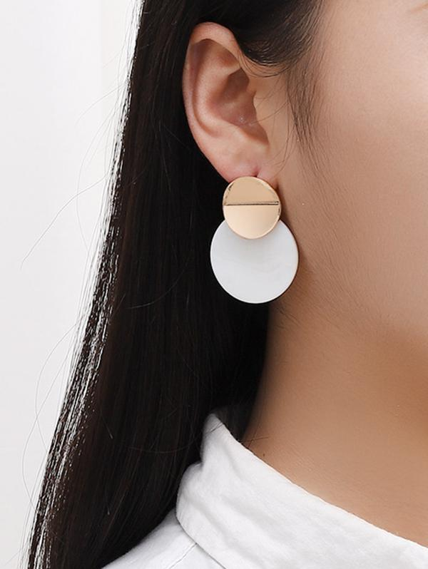 Brief Round Acrylic Stud Drop Earrings
