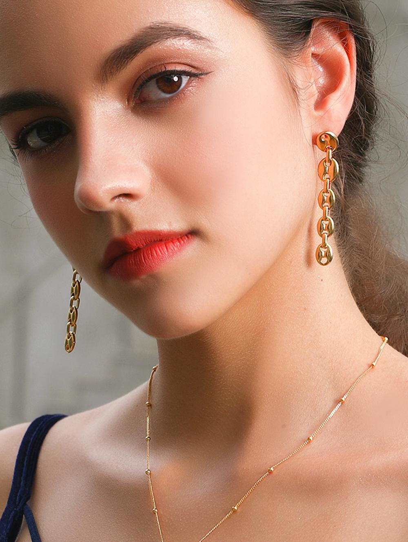 18K Gold Plated Silver Needle Dangle Earrings