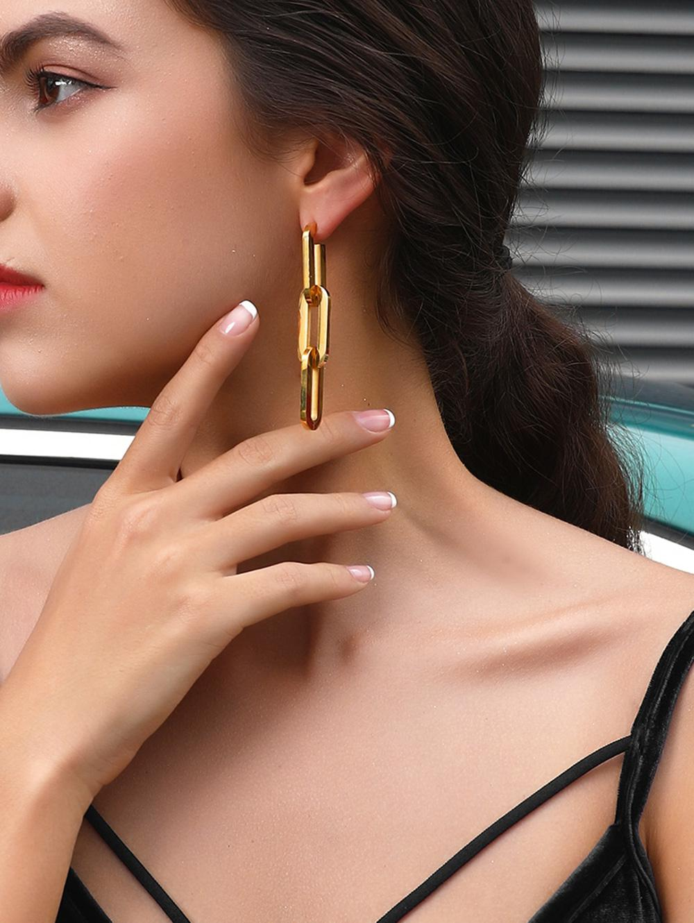 Silver Needle 18K Gold Plated Chain Earrings