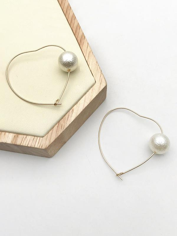Faux Pearl Heart Shape Earrings