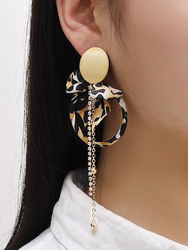 Leopard Bowknot Faux Pearl Asymmetric Earrings