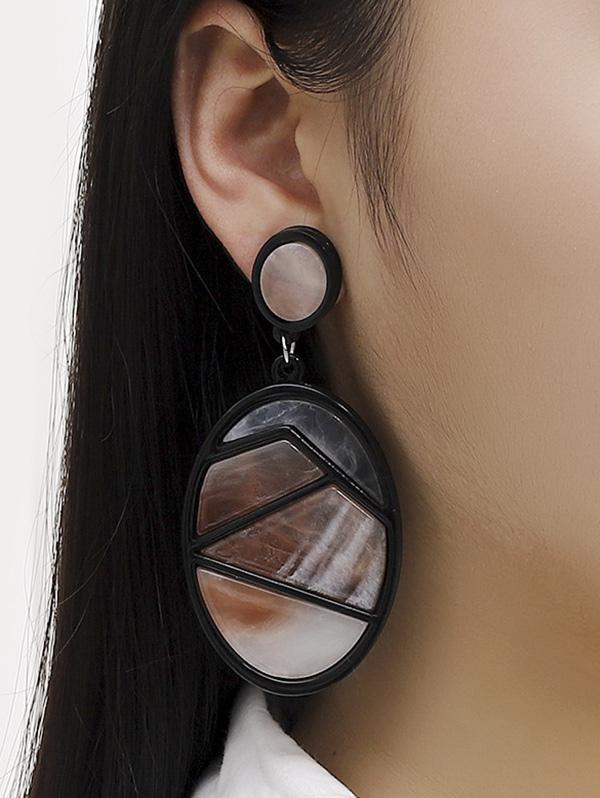 Oval Patchwork Colorblock Drop Earrings