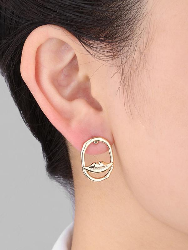 Oval Eye Lip Shape Faux Pearl Earrings
