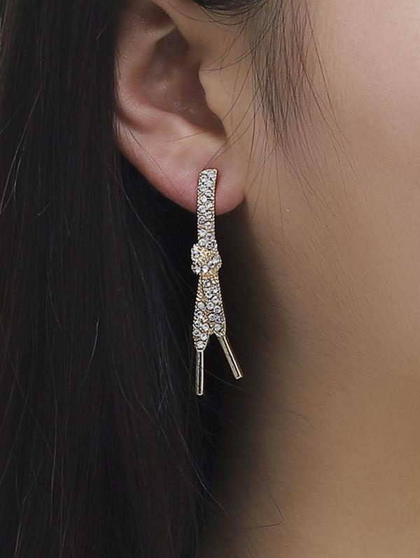 Shoelace Knot Shape Rhinestone Earrings