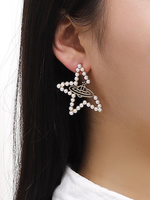 Faux Pearl Star UFO Shape Stud Earrings