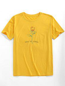 Rose Pattern Embroidery T shirt