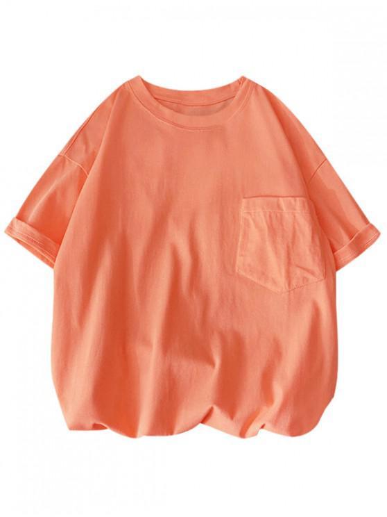 Solid Color Front Pocket Round Collar T-shirt - برتقالي وردي S