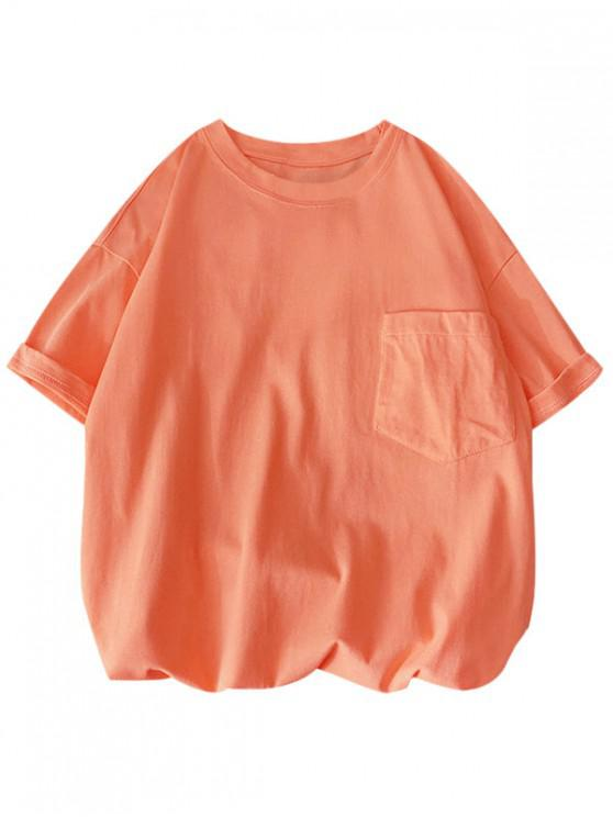 hot Solid Color Front Pocket Round Collar T-shirt - ORANGE PINK 3XL