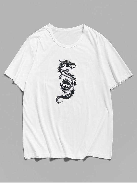 Contrast Dragon Graphic Drop Shoulder Lounge T Shirt - أبيض XS