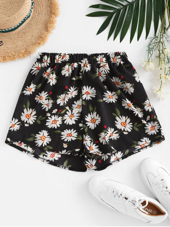 outfits Daisy Floral Casual Shorts - BLACK S