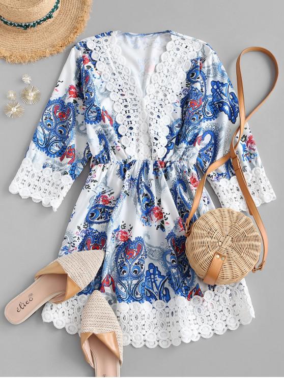 affordable Paisley Print Crochet Panel Mini Dress - WHITE L