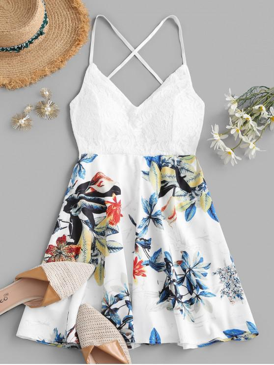 ladies Flower Lace Panel Padded Criss Cross Cami Dress - WHITE S