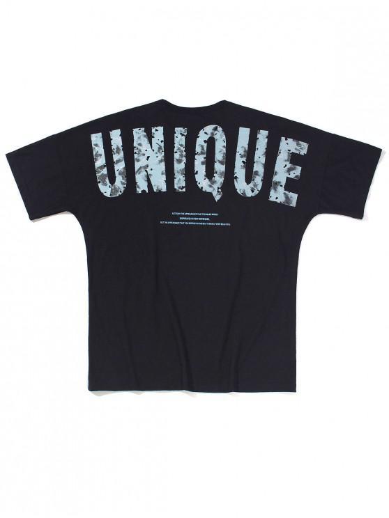 Unique Letter Graphic Basic T-shirt - أسود M