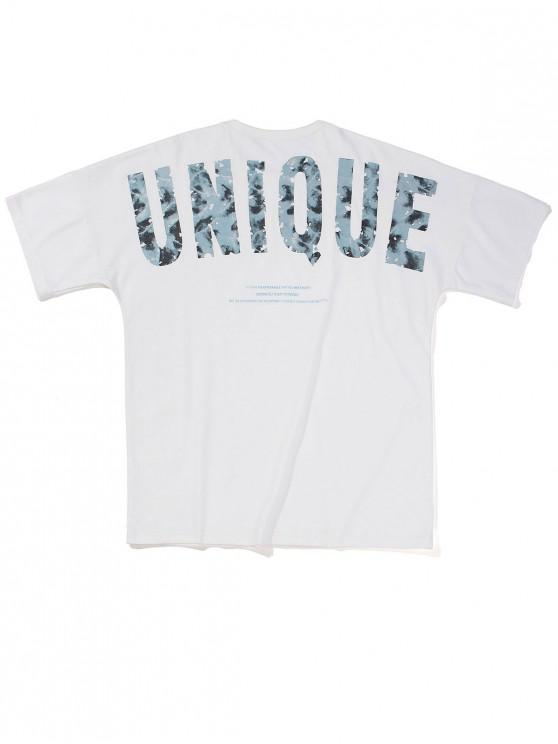 T-Shirt con Grafica di Lettere - Bianca M