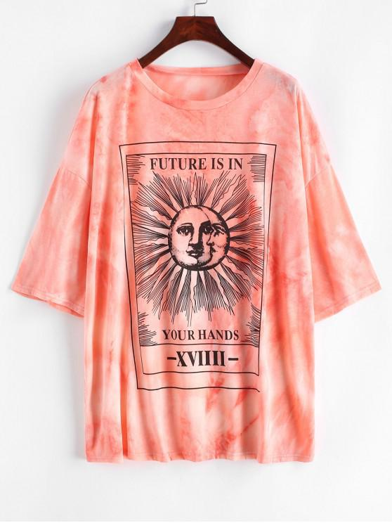 lady Sun and Moon Letter Print Loose Tee - LIGHT PINK S