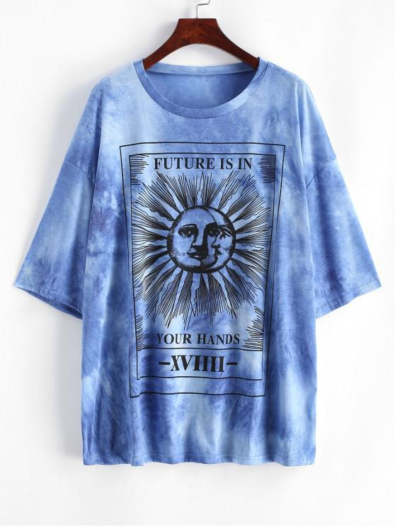 hot Sun and Moon Letter Print Loose Tee - BLUE M