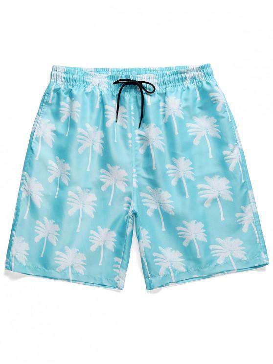 Palm Tree Print Board Shorts - السماء الزرقاء M